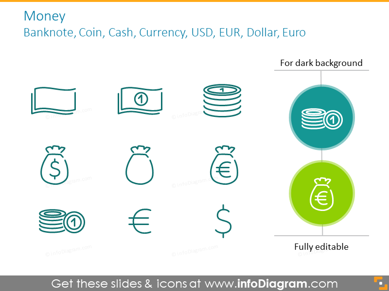 Example of the money icons:Banknote, Coin, Cash, Currency USD, EUR