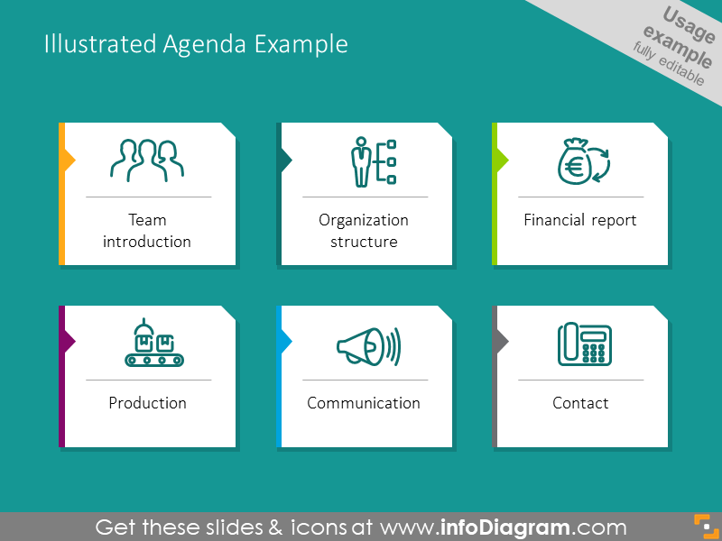 Example of agenda illustrated with outline icons