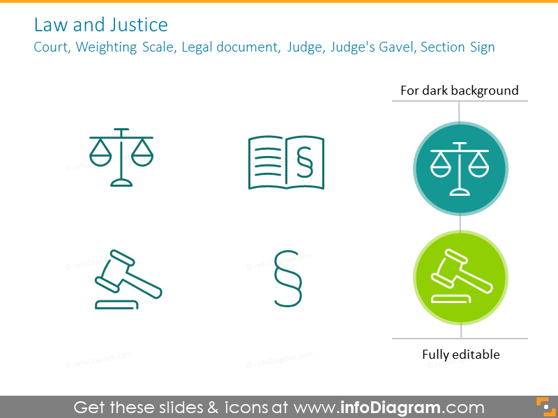 Example of the law icons: Court, Weighting Scale, Legal document, Judge