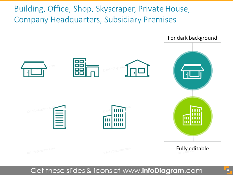 Example of the buildings outline icons