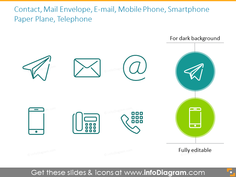 Outlinecontact symbols: phone, email, envelope