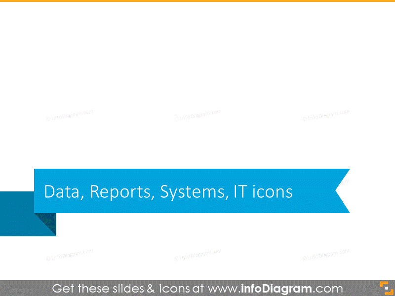 Data, Reports, Systems, IT icons headline slide