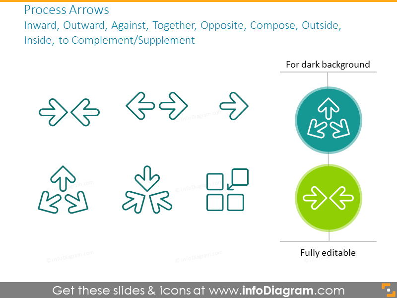 Outline arrows icons set