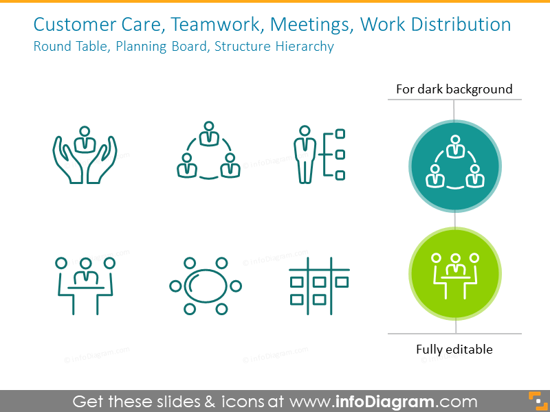 Structure, Hierarchy, customer care outline icons