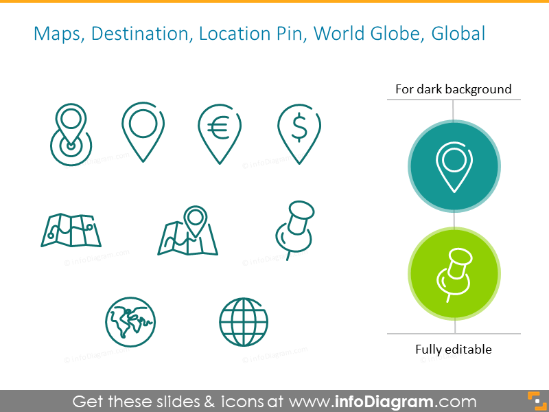 Location symbols: maps, destination, pin