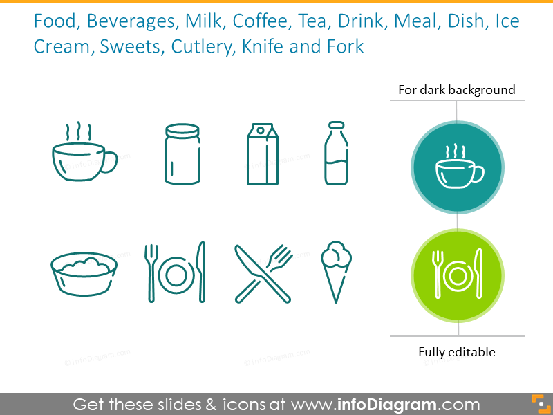 Beverages and cutlery outline symbols