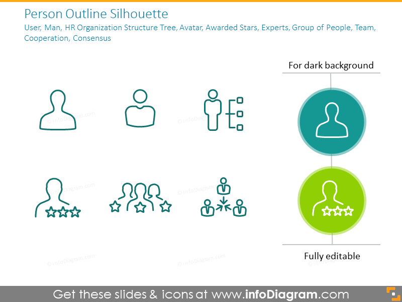 Person outline: silhouette, user, man