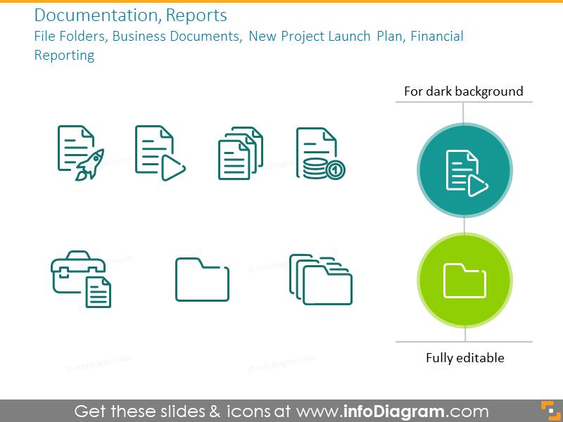 Documentation, reports:file folders, business documents,