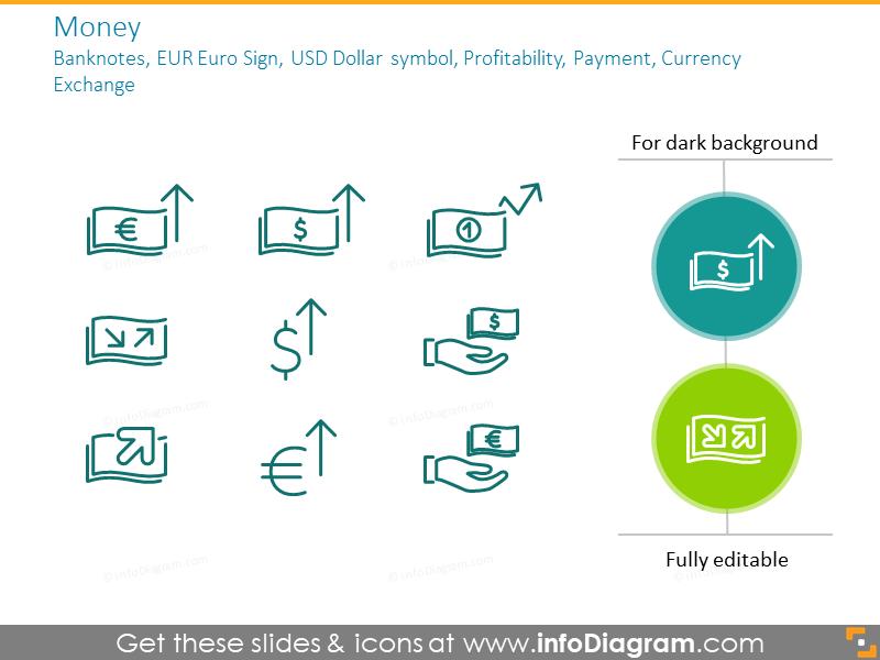 Money: banknotes, EUR Euro Sign, USD Dollar symbol