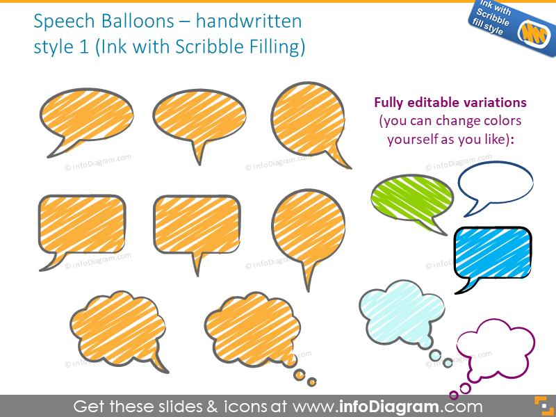 speech balloons handwritten ink scribble powerpoint icons