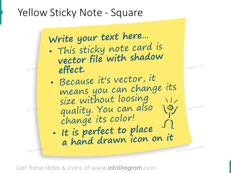 Yellow sticky Note square transparent shadow