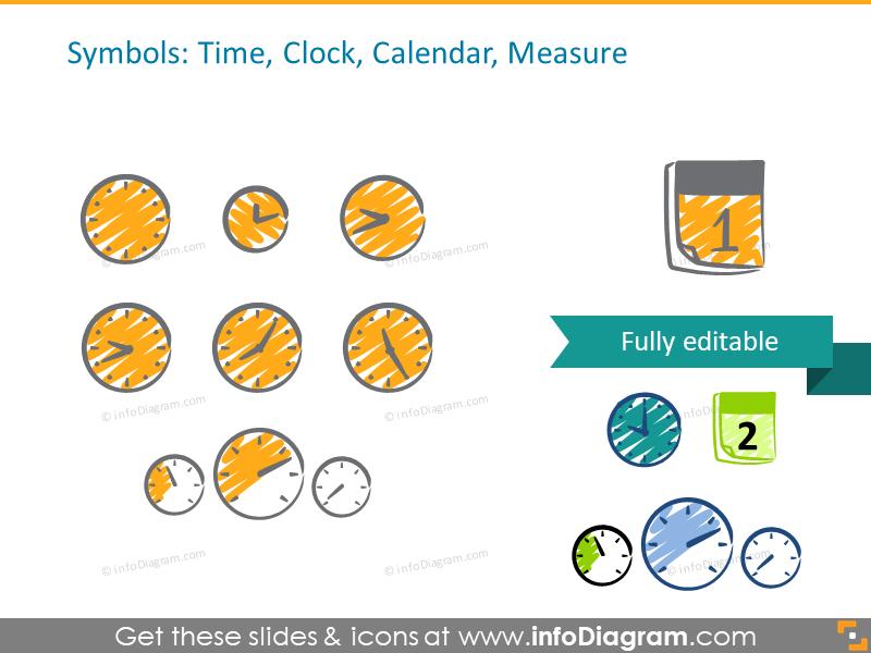 scribble clock handwritten calendar time icons ppt clipart