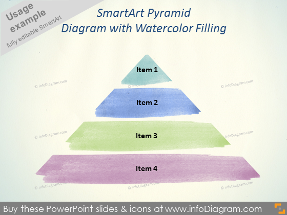 SmartArt Pyramid Diagram watercolor fill pptx
