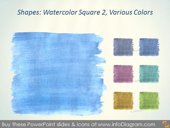 Watercolor square Brush blue Aquarelle ppt icons