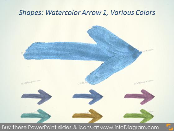 Watercolor arrow blue Brush Aquarelle ppt icons