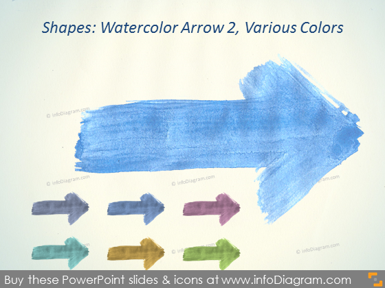 Watercolor arrow handrawn Brush Aquarelle ppt icons