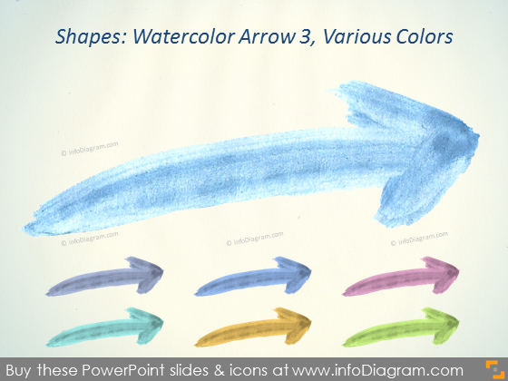 Watercolor arrow Brush increase Aquarelle pptx icon
