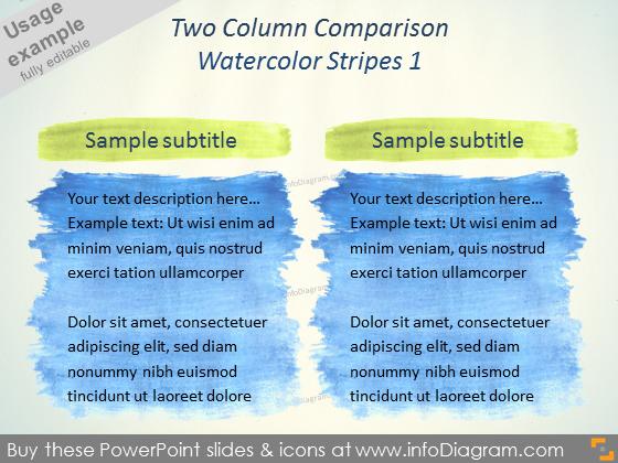 Watercolor Comparison Slide Layout Aquarelle square PPTX