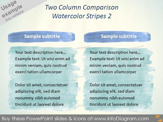 Water color Comparison Slide Layout Aquarelle stripes PPTX