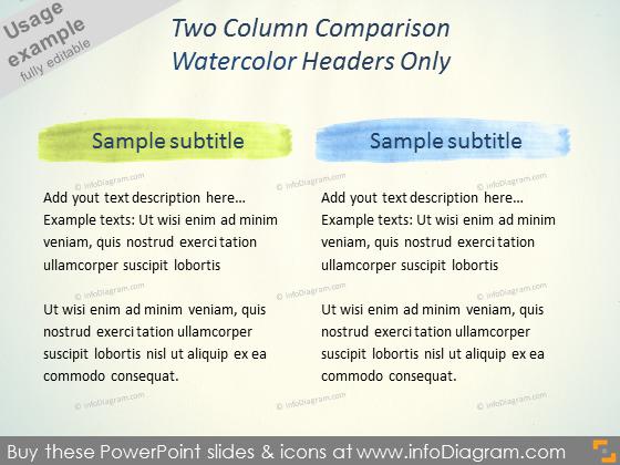 Watercolor Brush headline Comparison Slide Layout PPT