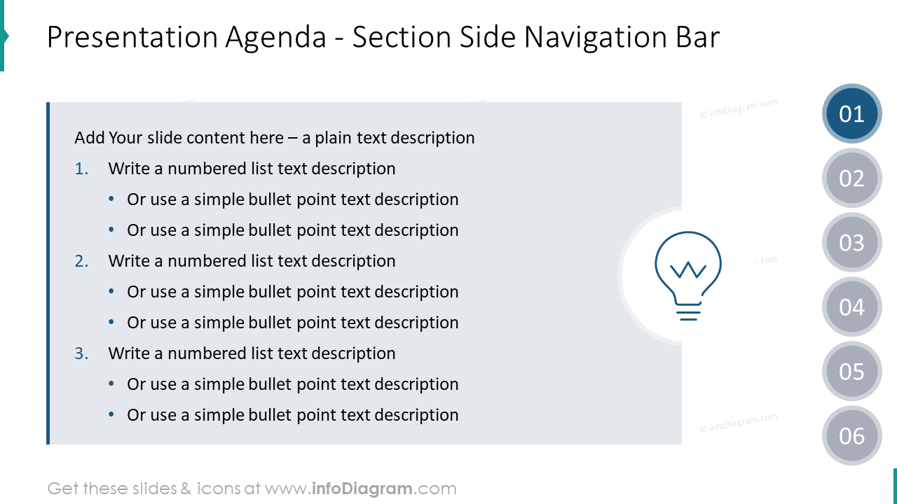 Presentation agenda with section navigation bar