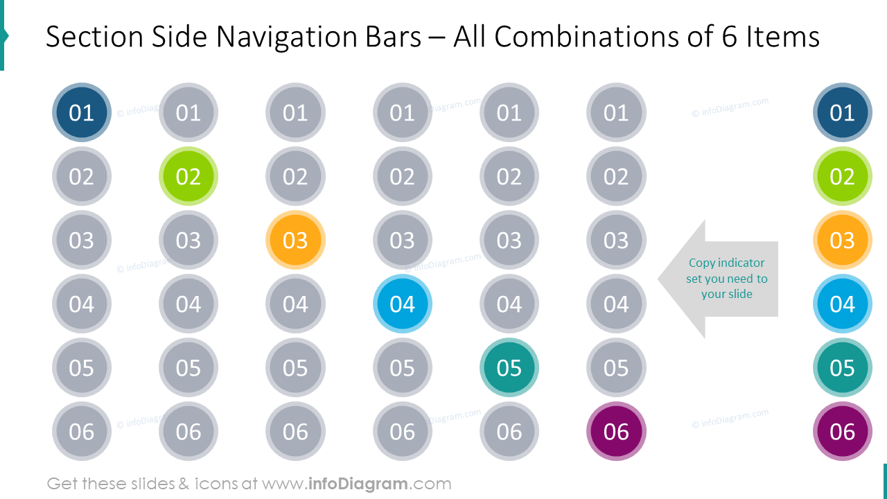 Section side navigation bars for 6 items
