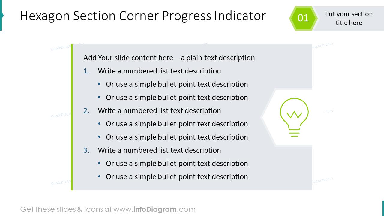 Hexagon section corner progress indicator