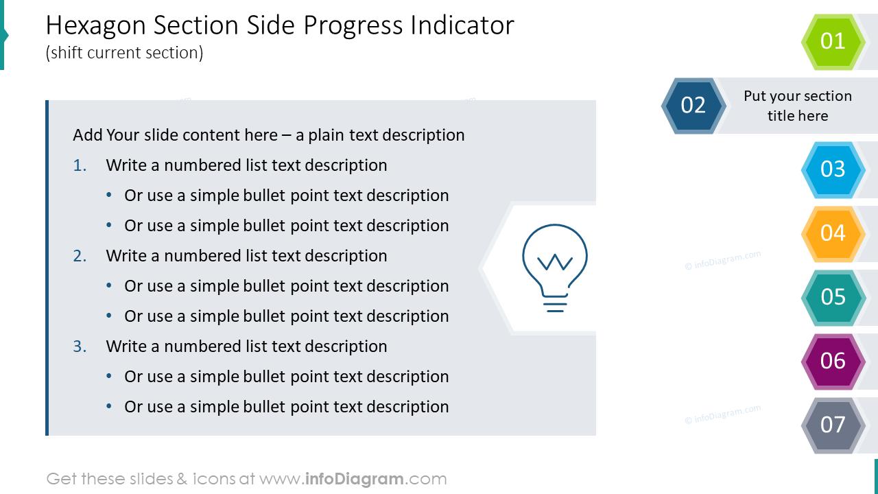 Hexagon section side progress indicator