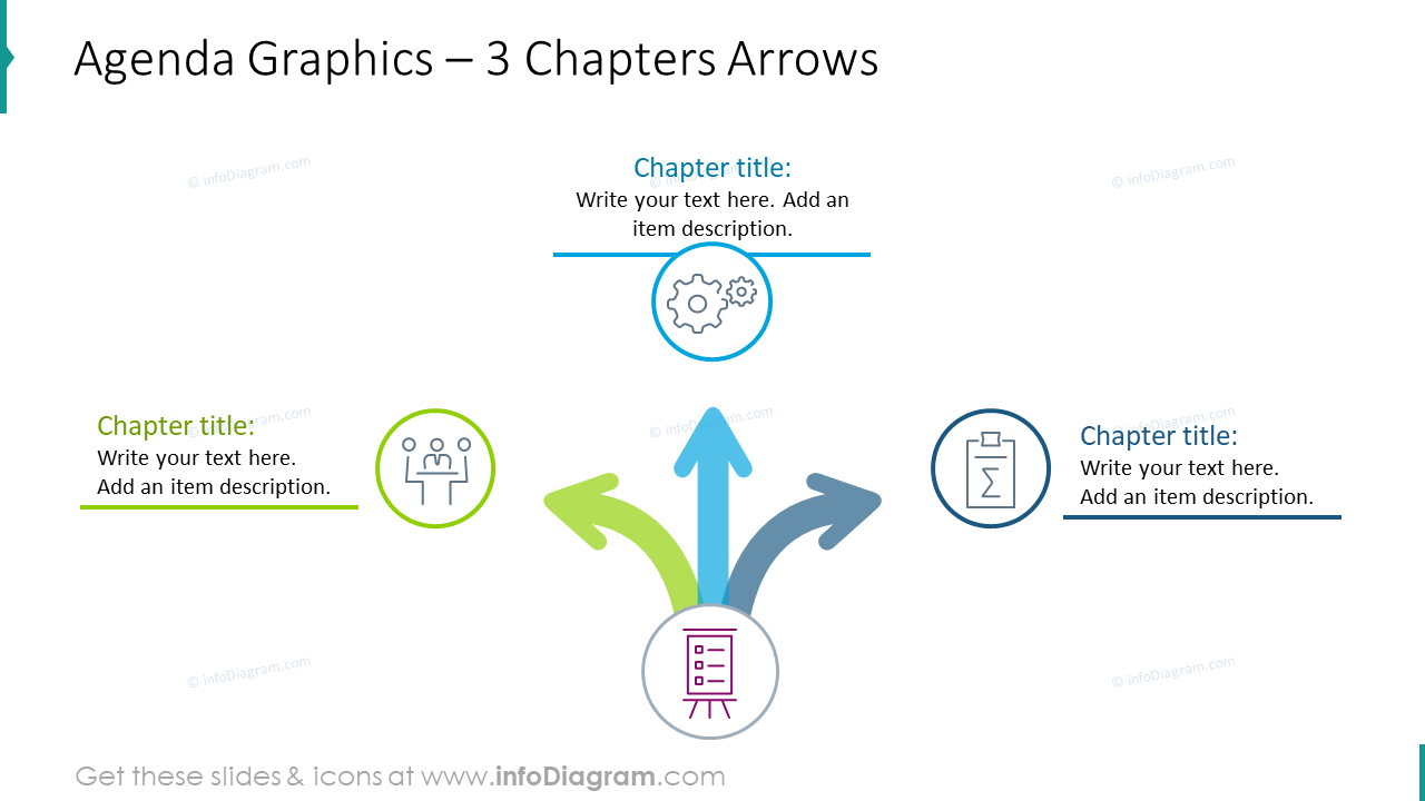 Agenda graphics with 3 chapters arrows