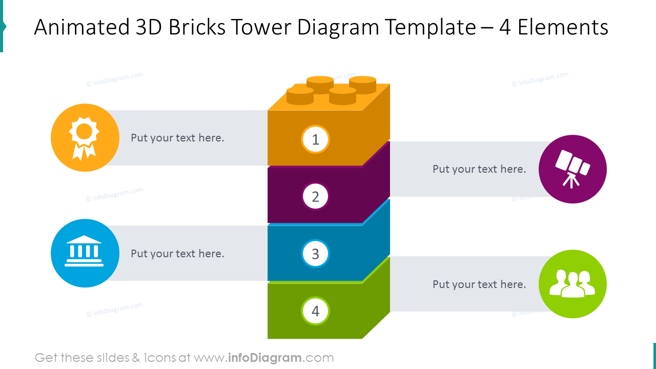4 items vertical animated 3D bricks tower with flat graphics