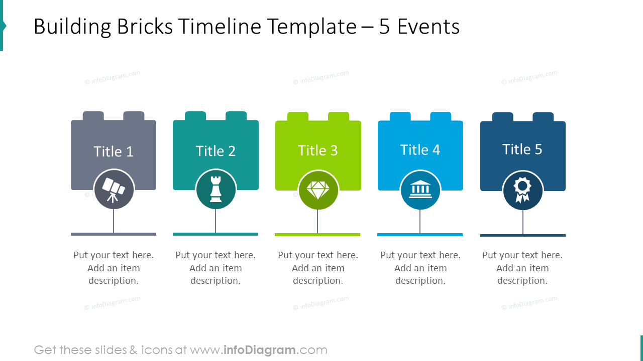 Building bricks timeline slide template for 5 events