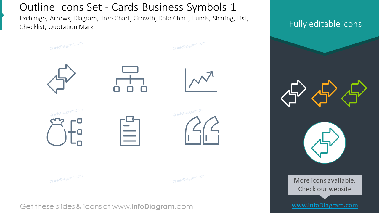 Outline icons set: cards, business symbols, Exchange, arrows