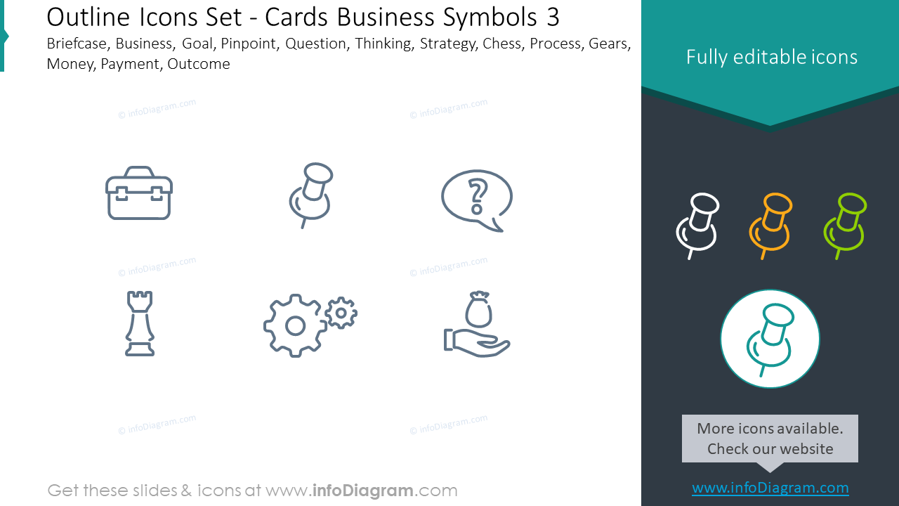 Outline icons set: cards business symbols, briefcase, business