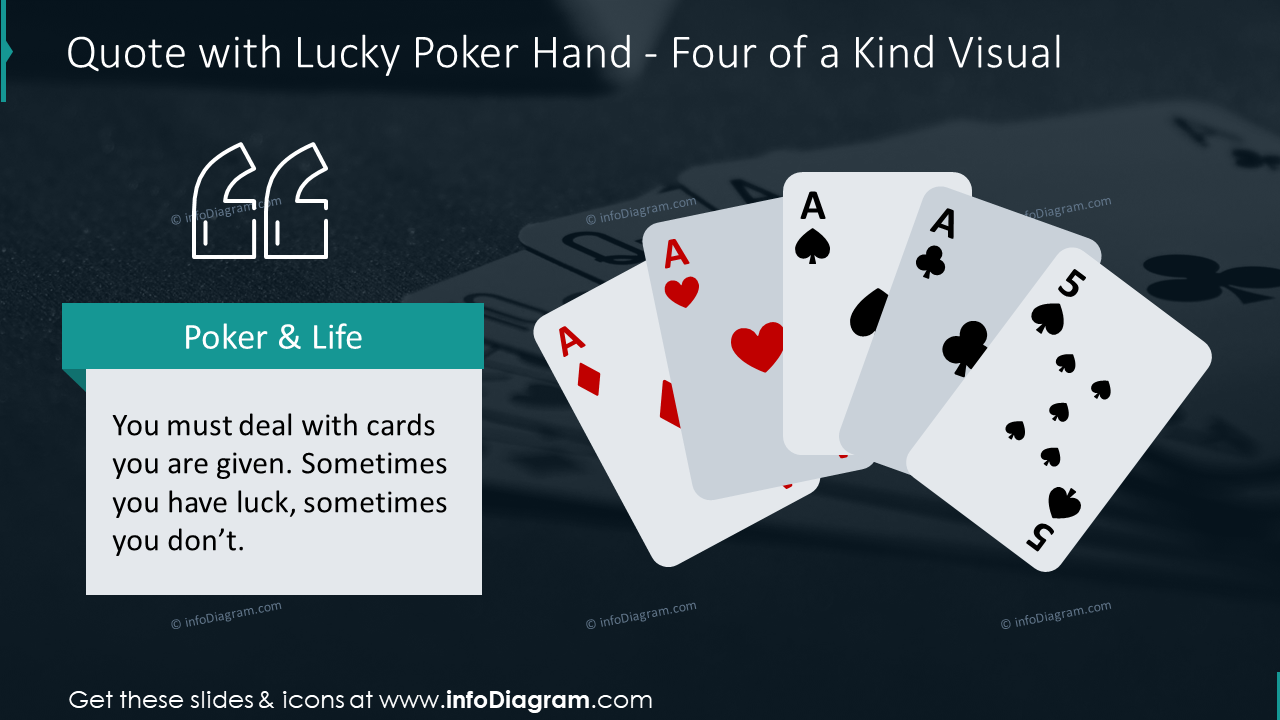 Quote slide with lucky poker hand