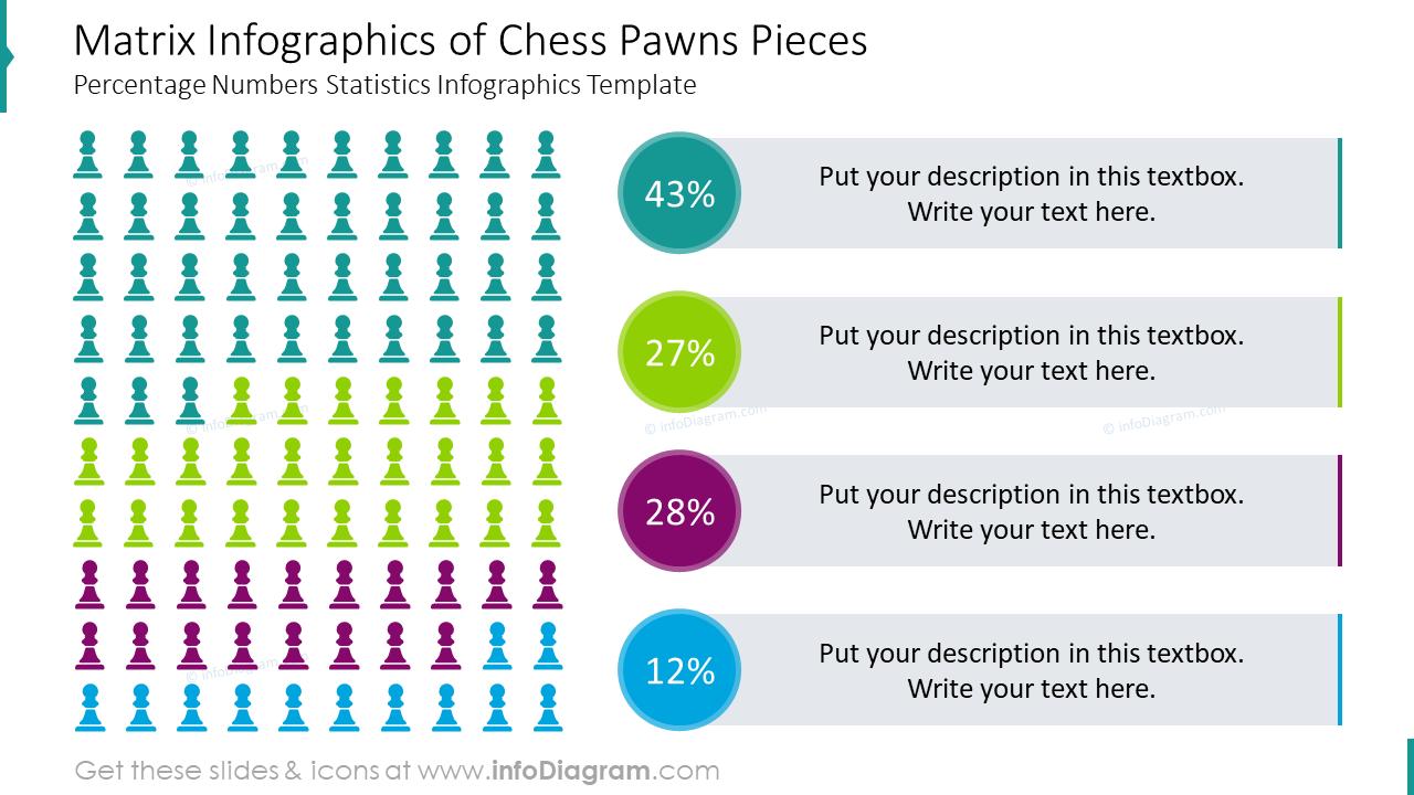 Matrix infographics of chess pawns pieces