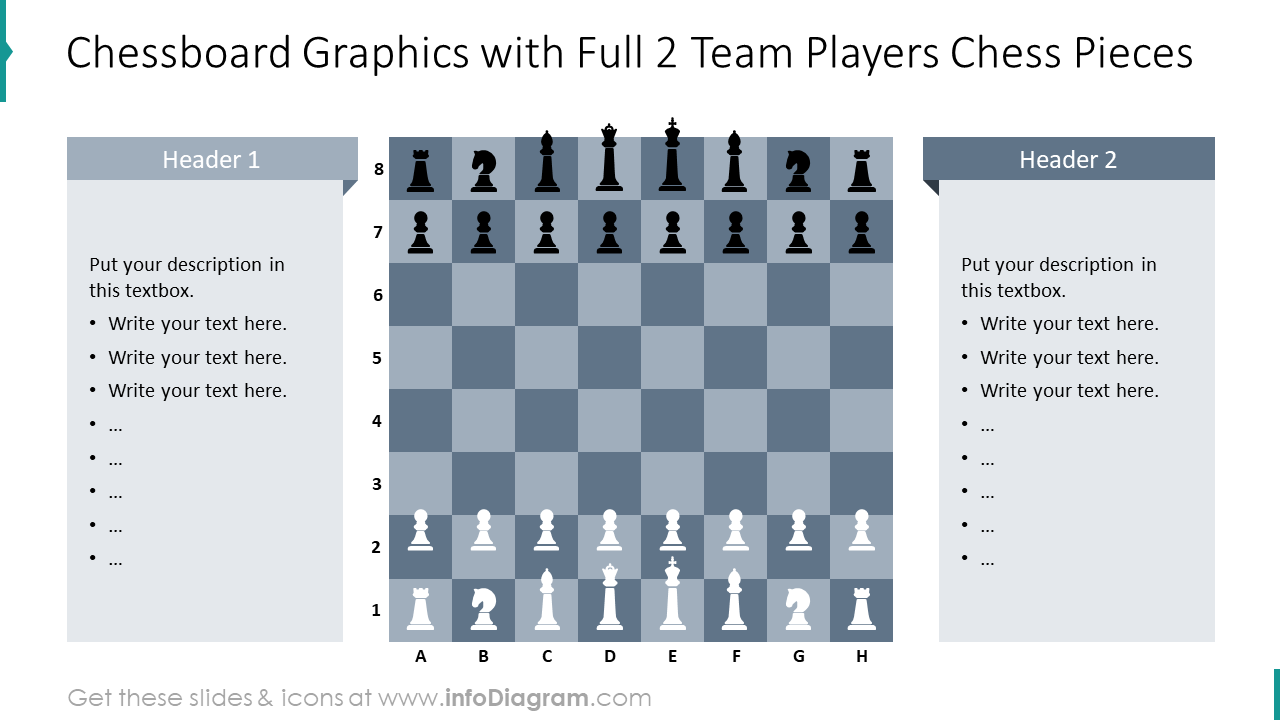 Chess board graphics with full 2 team players chess pieces