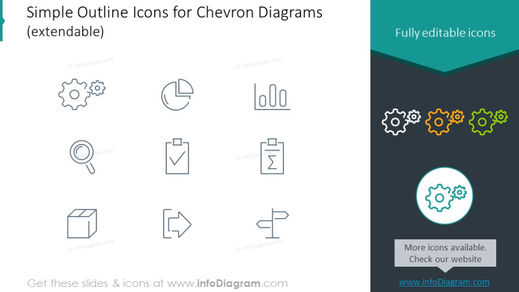 Simple Outline Icons for Chevron Diagrams