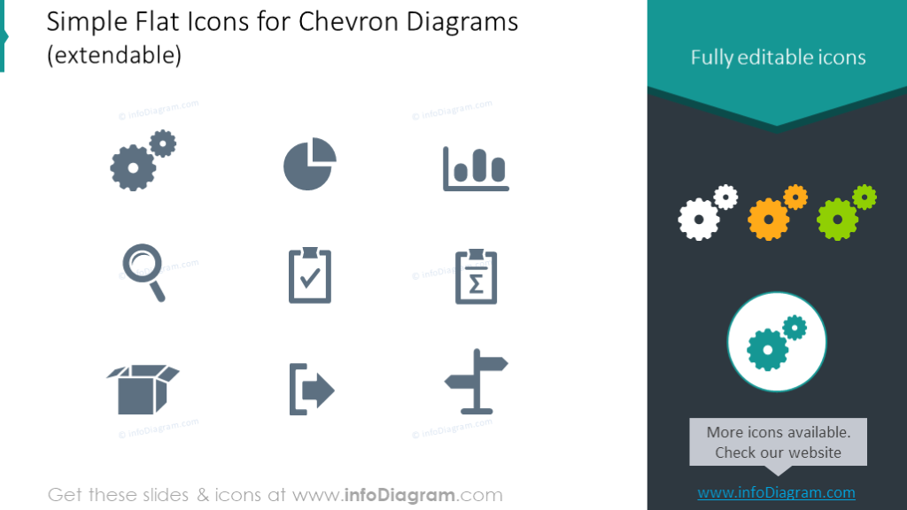 Simple Flat Icons for Chevron Diagrams
