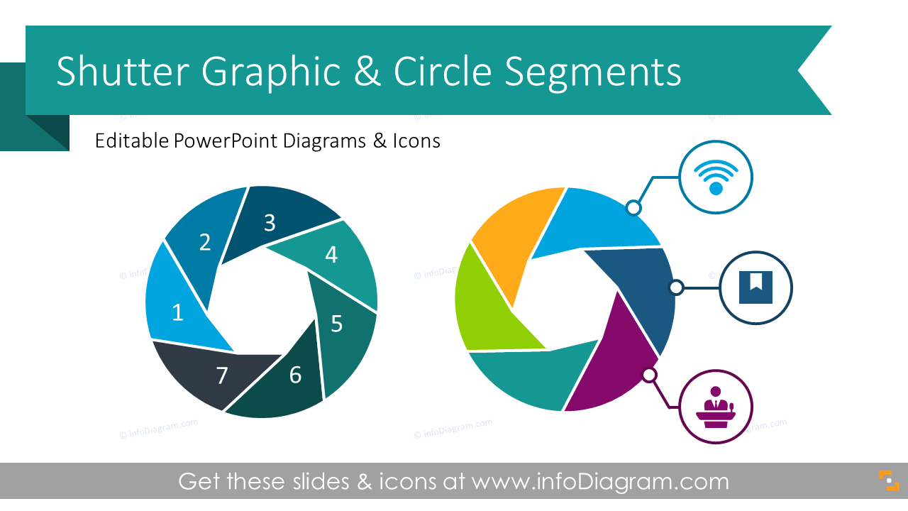 Set of 30 Modern Shutter Graphic Circle Segment List Diagrams PPT Template  with Camera Lens Illustration and Vector Icons