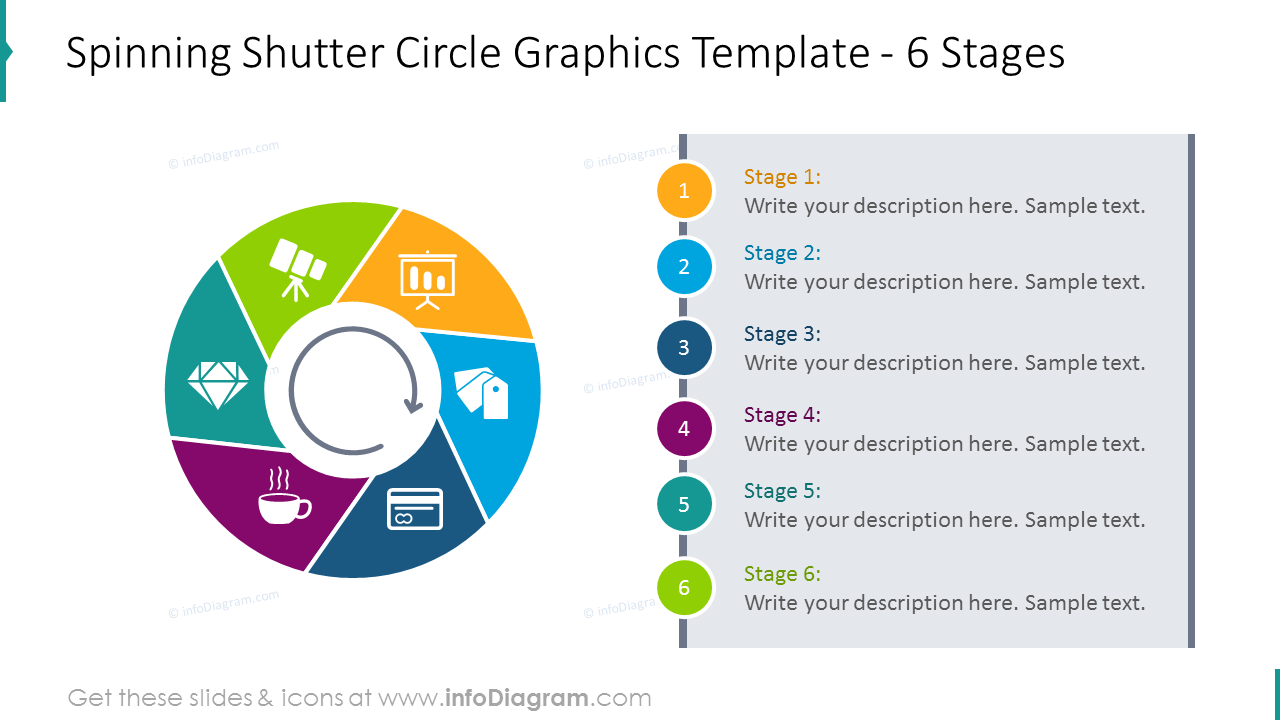 6 stages spinning shutter circle template shown with description and flat …