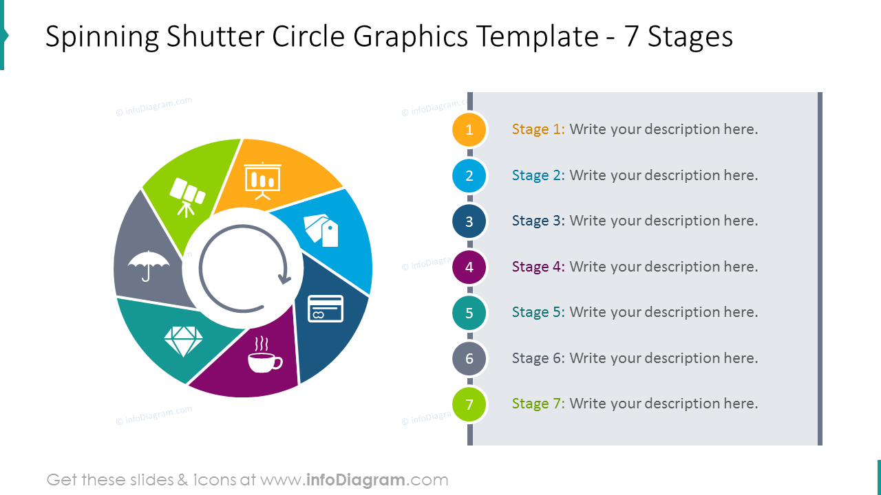 Spinning shutter circle template for 7 colourful stages