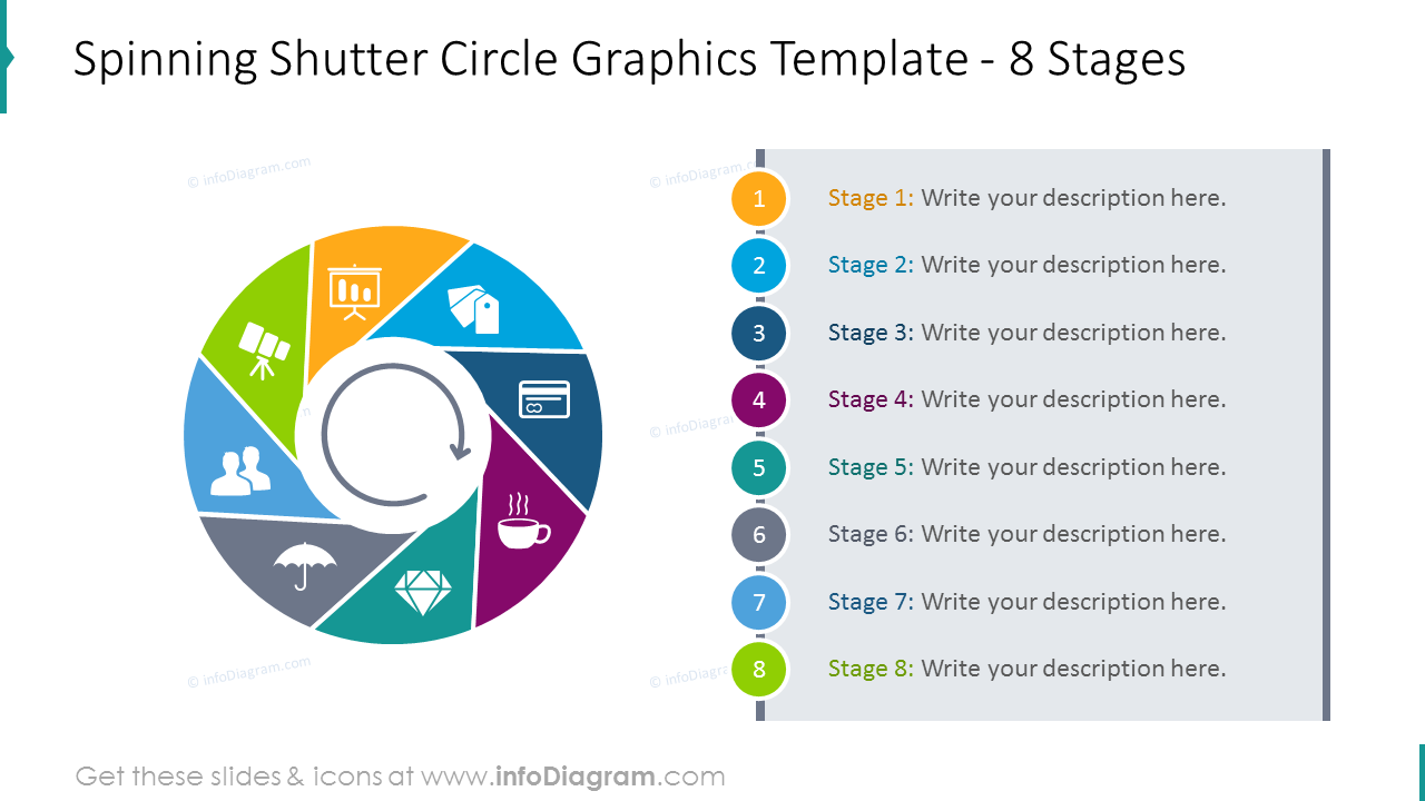 Spinning shutter circle template for 8 colourful stages