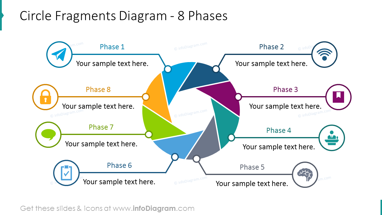 Circle fragments diagram illustrated with 8 phases