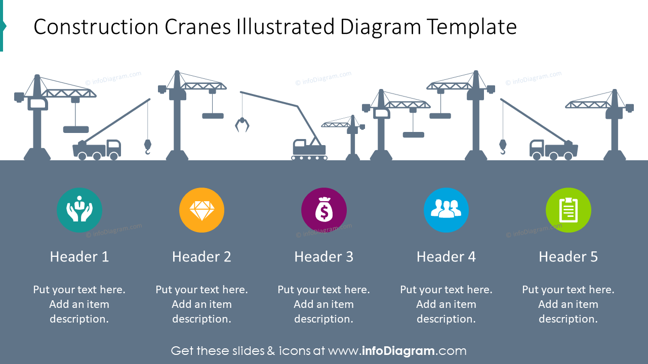 Diagram template showed with construction cranes
