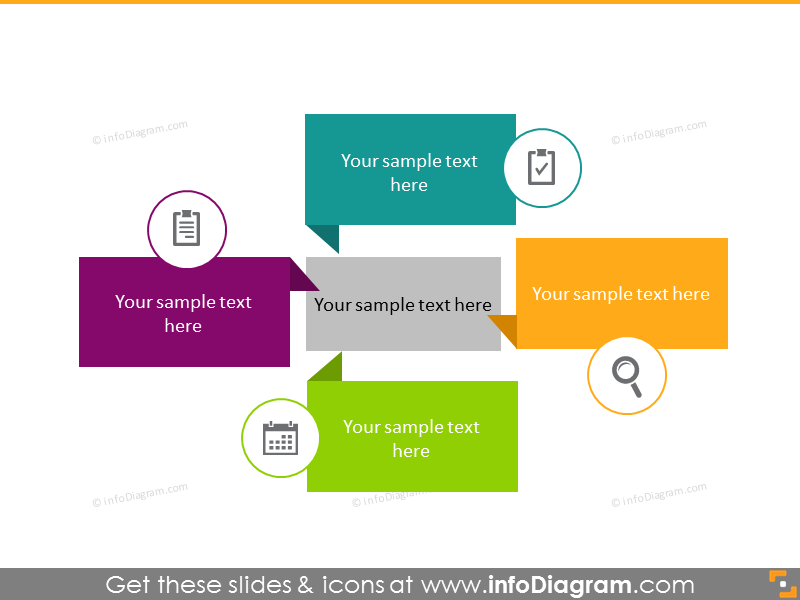 5 central rectangular diagrams list infographics