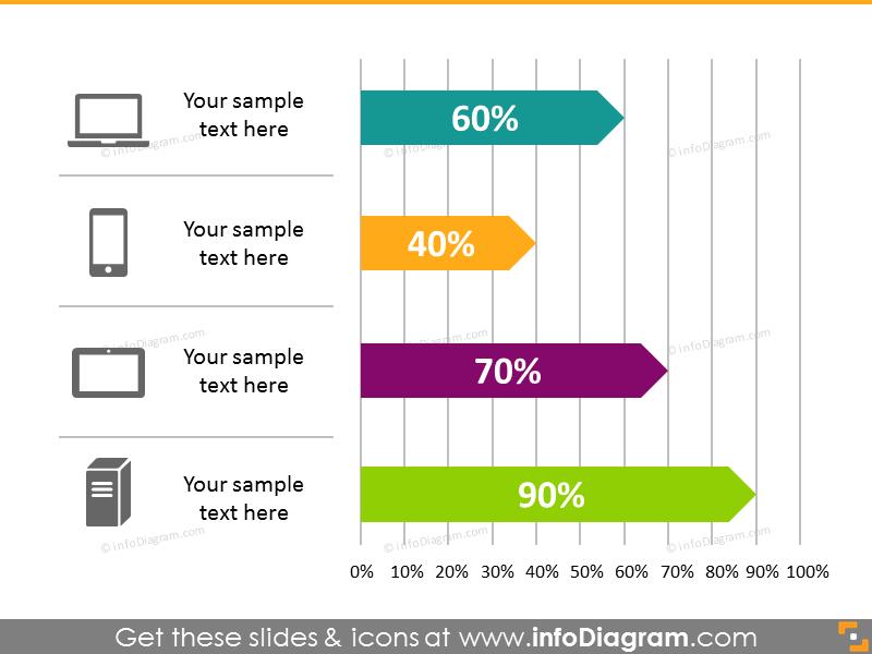 bar chart infographics template flat powepoint