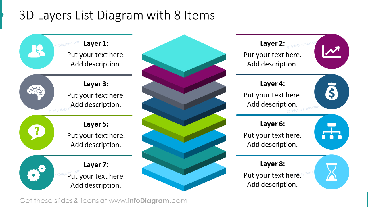 3D layers list diagram with 8 items