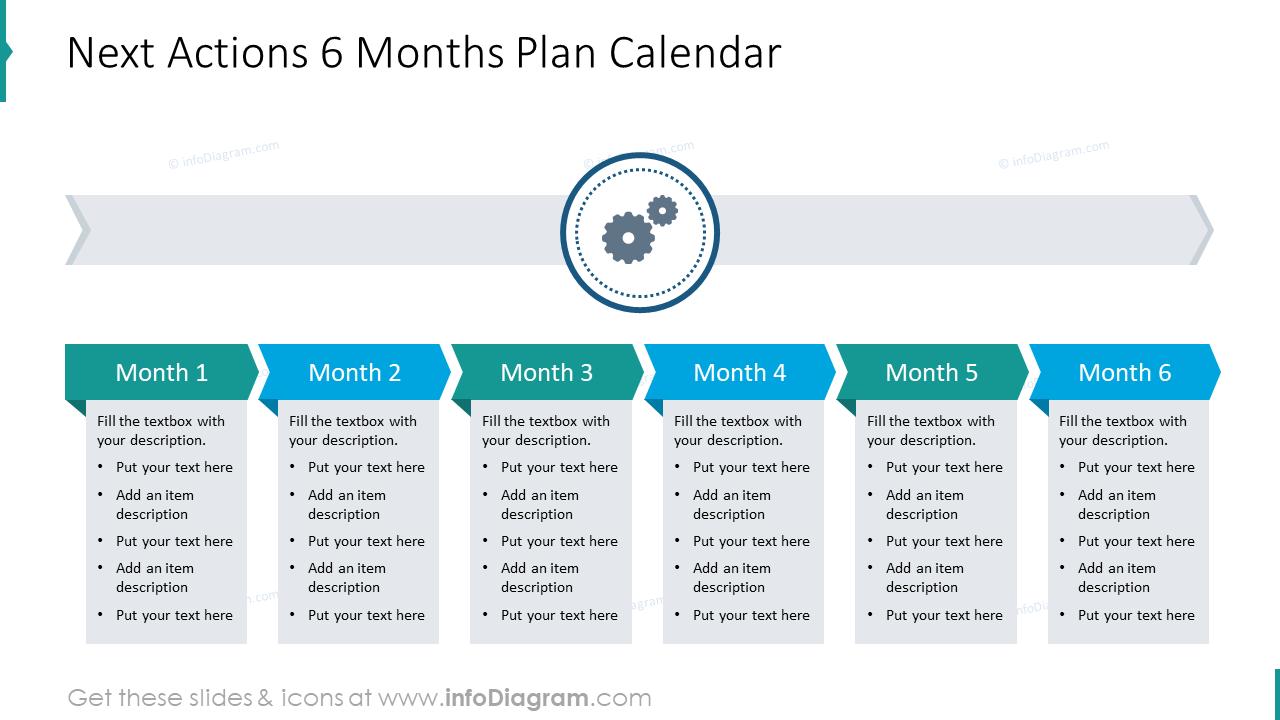 Next actions 6 months plan calendar