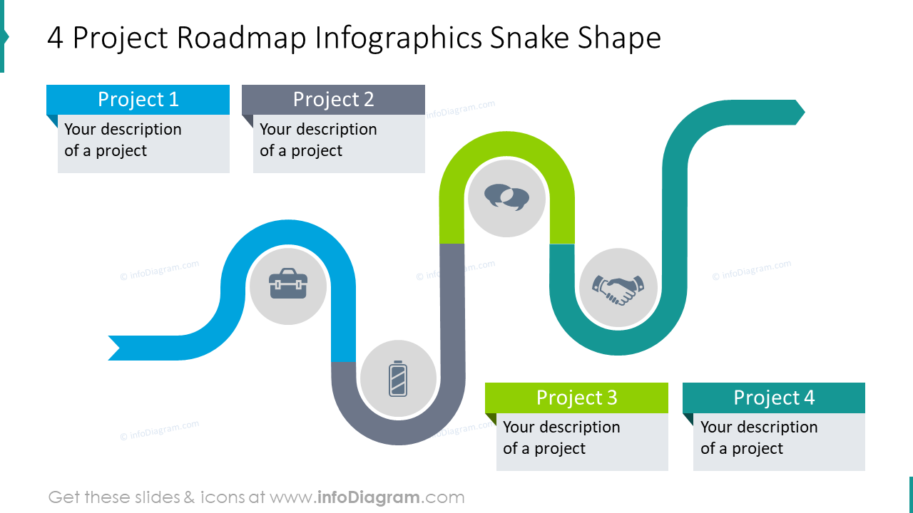 4 project roadmap infographics snake shape