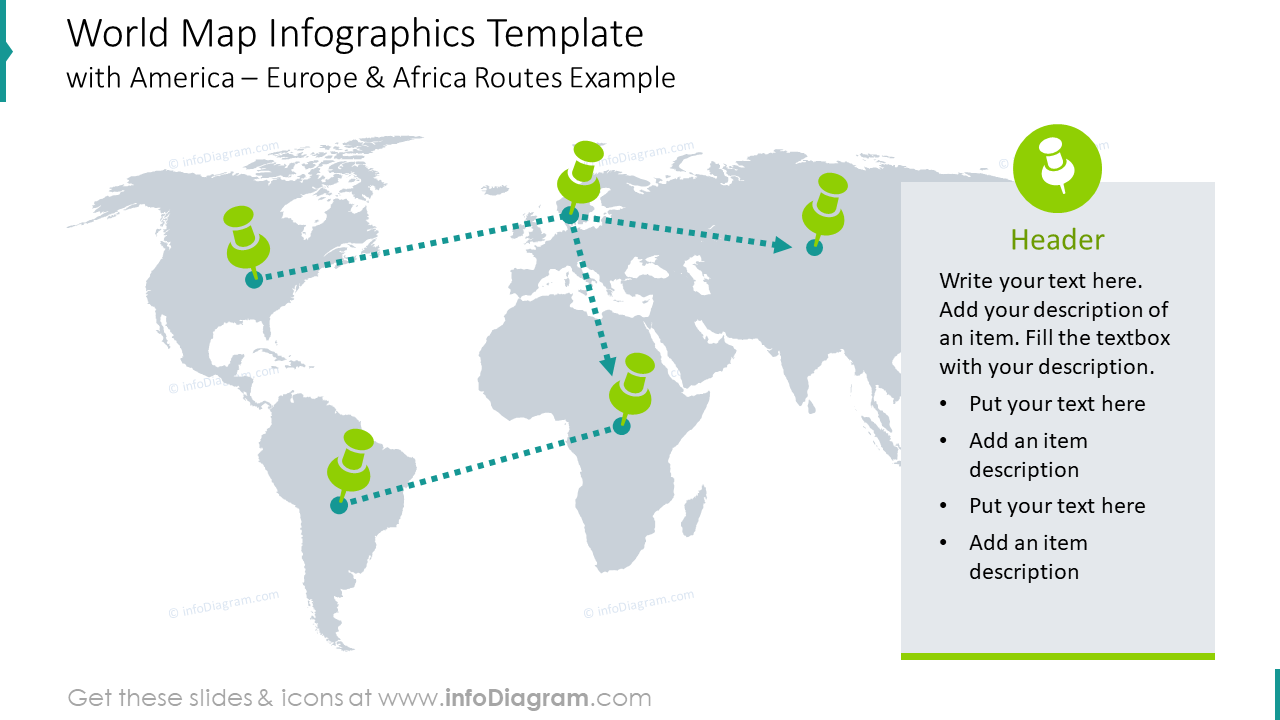 World map infographics template with America